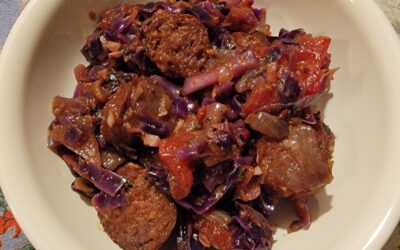 Lamb Sausage Stew with Cabbage and Tomato
